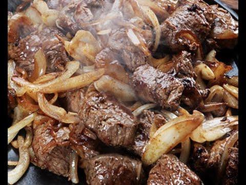 Receita de carne frita acebolada