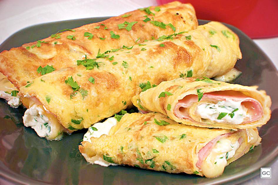 Receita de panqueca de ovo, presunto e queijo