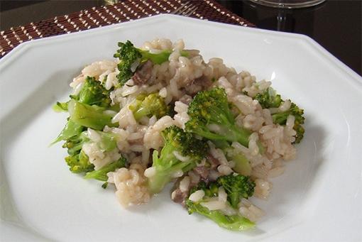 Receita de risoto prático de palmito e brócolis