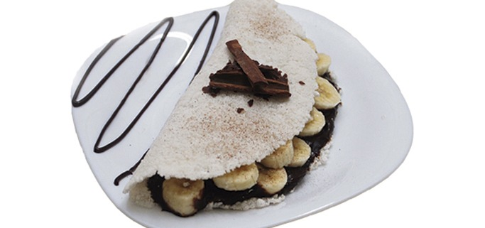 Tapioca de banana com chocolate