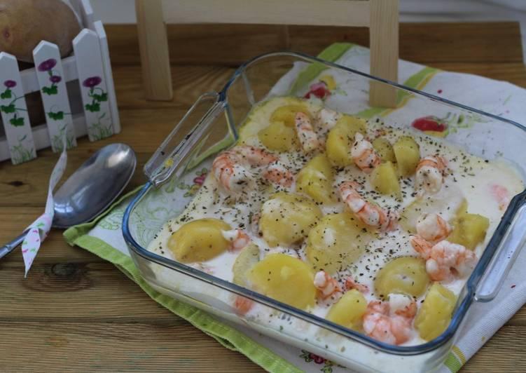 batata gratinada com camarão delicioso