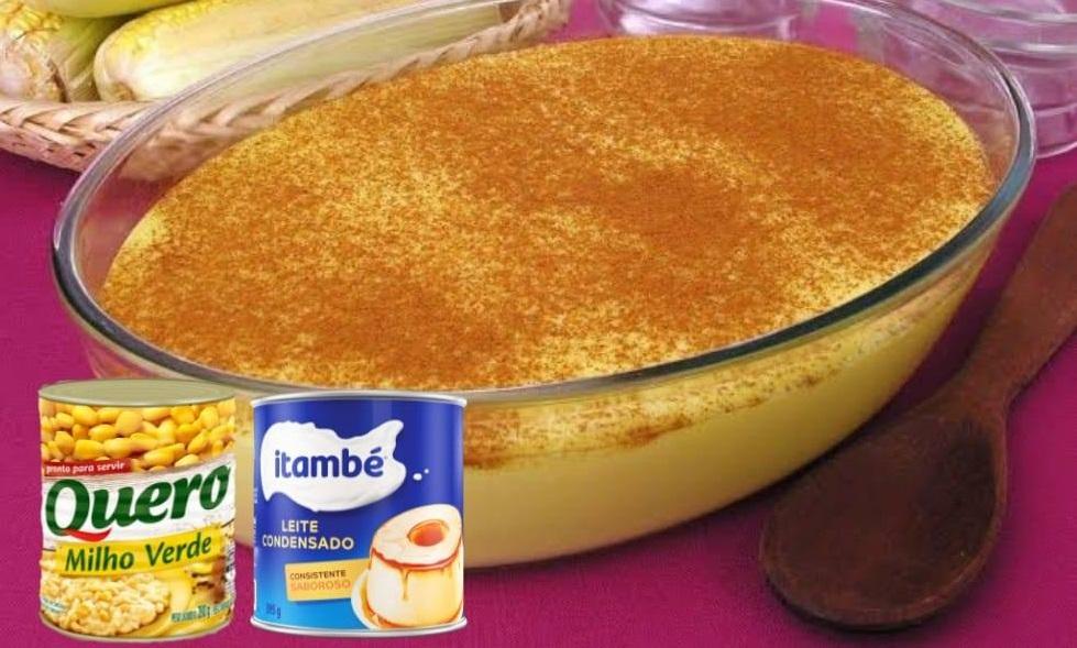 Curau cremoso de milho com leite condensado uma delícia