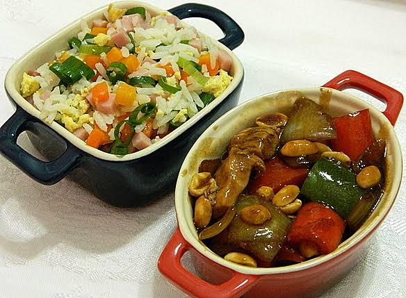 Frango Xadrez com arroz chop suey caseiro fácil
