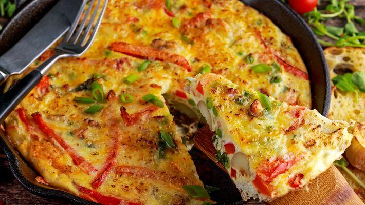 Omelete de forno recheado fácil e pratico