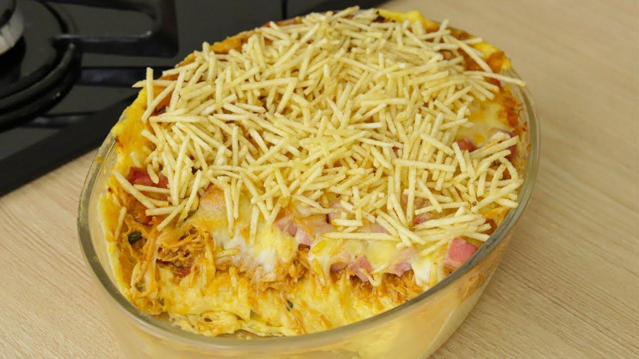 Torta cremosa de frango no liquidificador sem massa