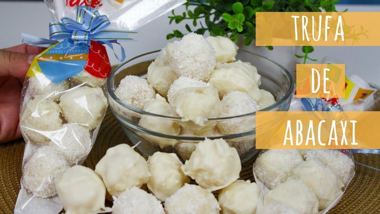 trufa de abacaxi com gelatina caseira deliciosa