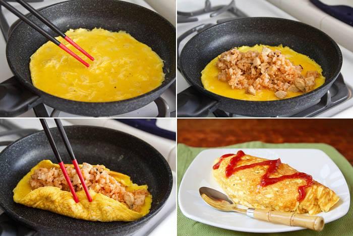 Arroz frito com omelete simples
