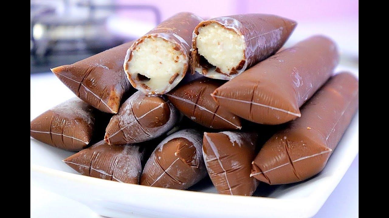 Geladinho com casquinha de chocolate caseiro delicioso
