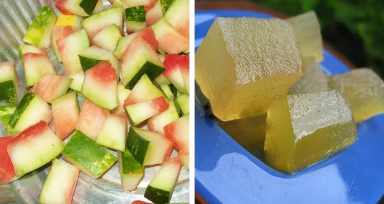 Casca de melancia em conserva caseira