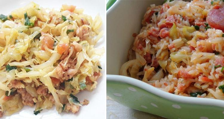 Como fazer arroz com repolho e linguiça calabresa