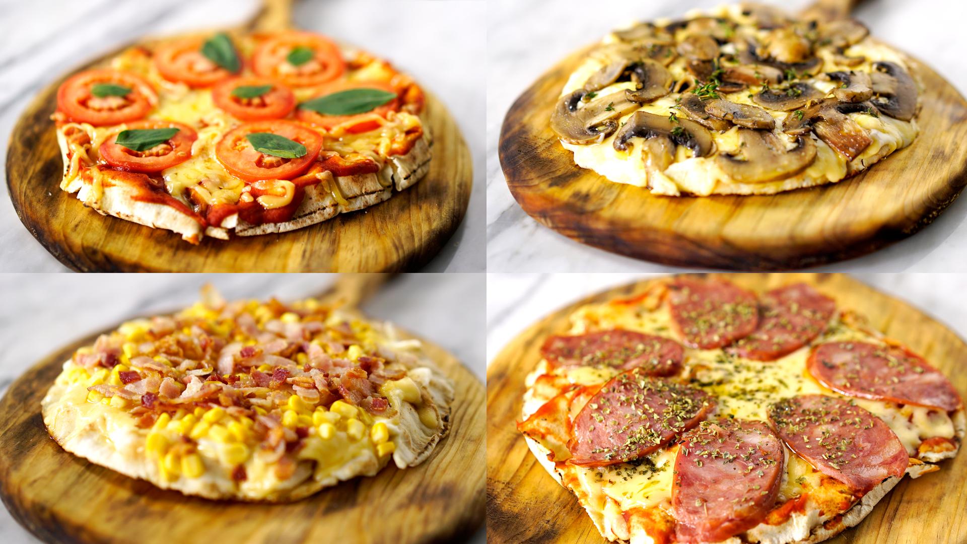 Pizza de pão árabe vegetariana caseira