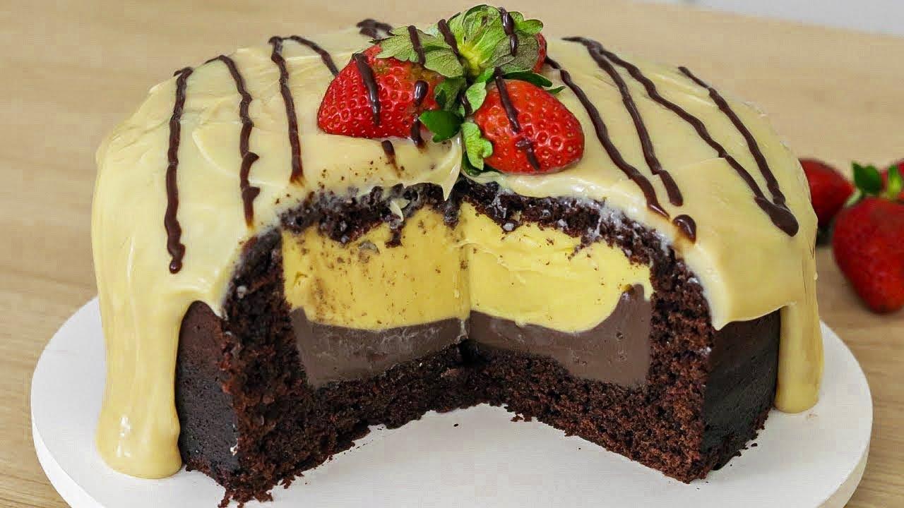 Receita de bolo de chocolate trufado com duplo recheio sensacional e muito delicioso