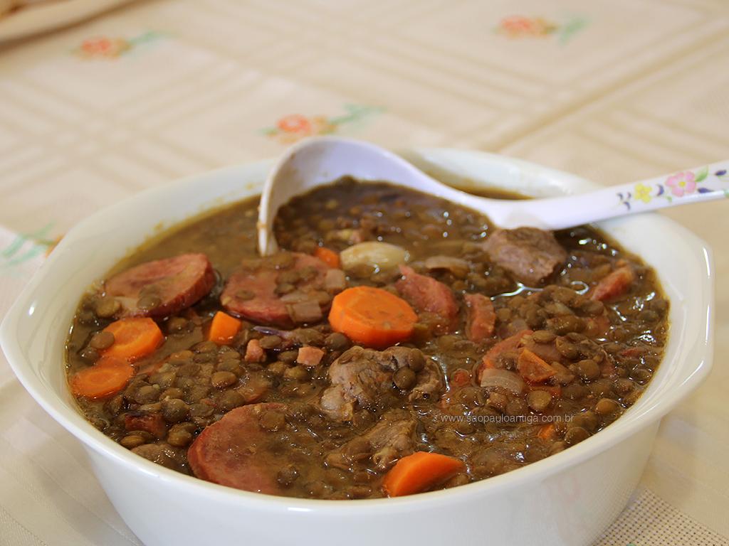 Receita de cozido de lentilha suculenta