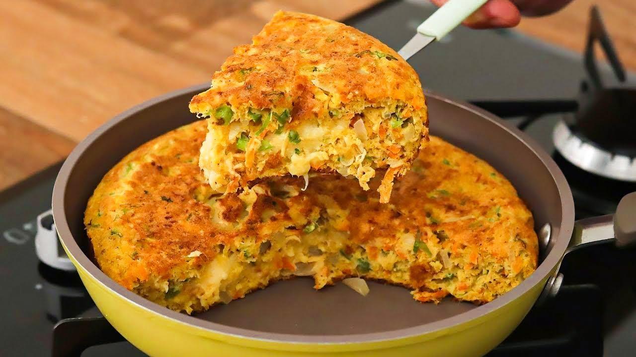 Receita de omeletão de frigideira fácil pronto em apenas 15 minutos