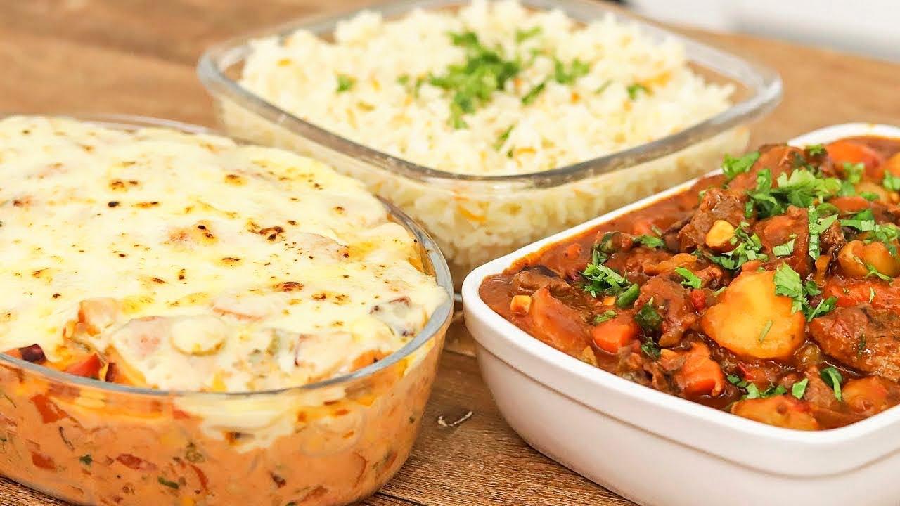 Receita de picadinho com arroz e macarrão de forno um super almoço fácil e delicioso
