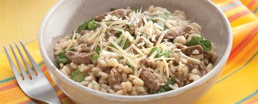 Receita de risoto de carne e alho-poró fácil