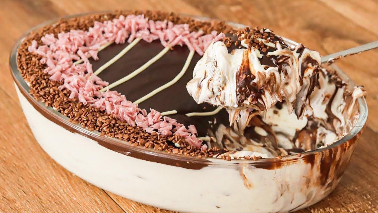 Receita de sobremesa gelada de leite ninho e chantillly  uma verdadeira explosão de sabor