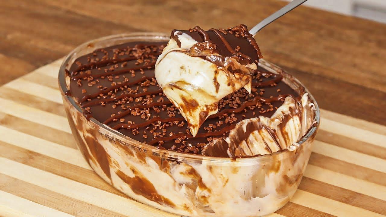 Receita de sobremesa gelada de ninho tufado com creme de avelã caseiro simplesmente  delicioso