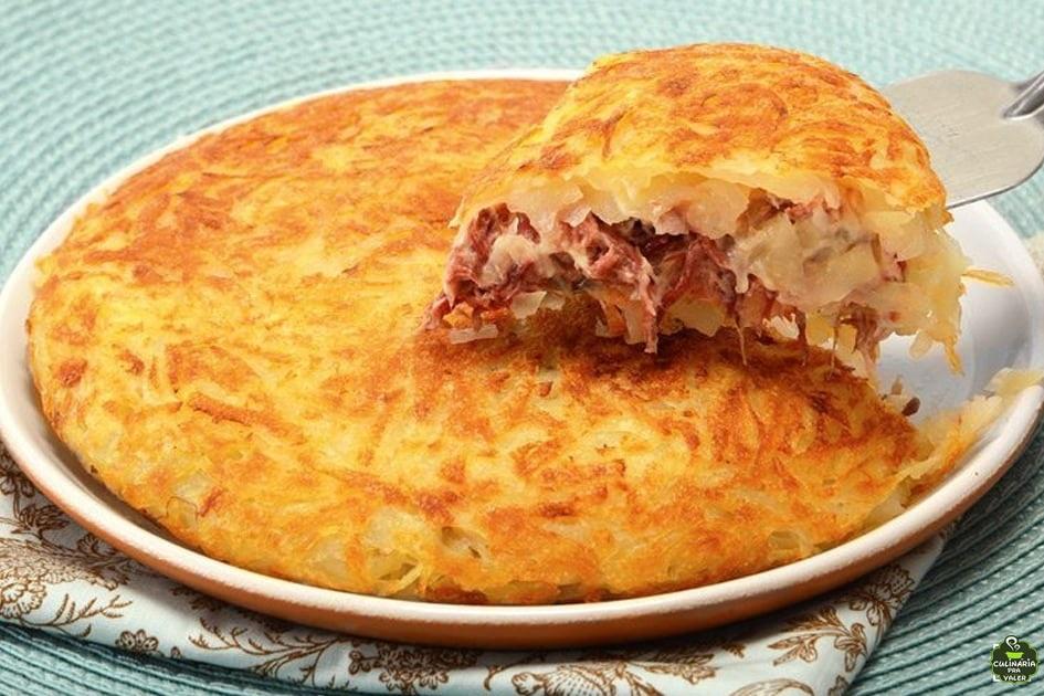 Batata rosti com carne seca e queijo hummm