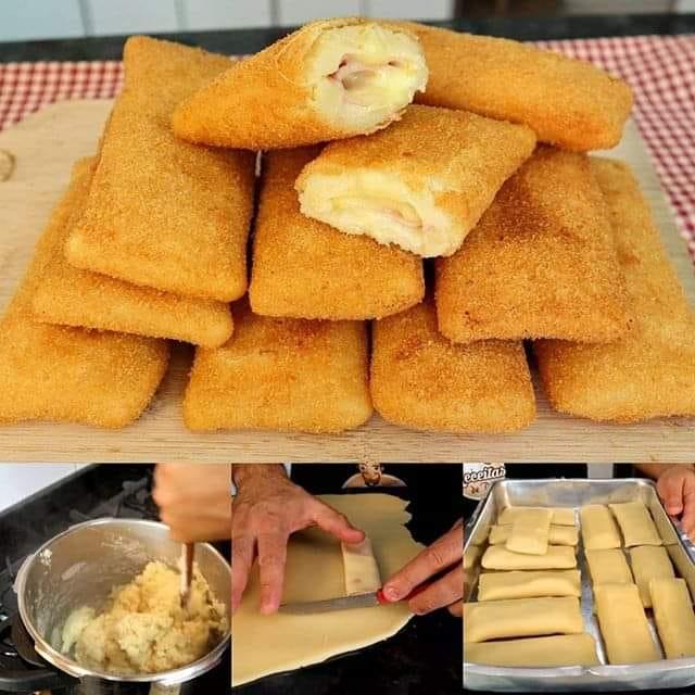 Cigarrete de queijo e presunto fácil e muito saboroso