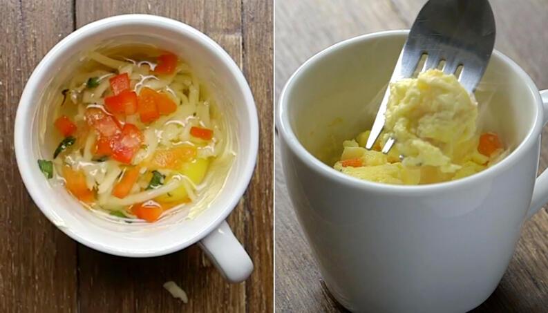 Receita de  omelete de caneca no microondas