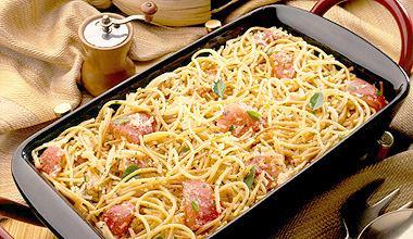 Receita mais que especial e pratica de fazer de espaguete italiano