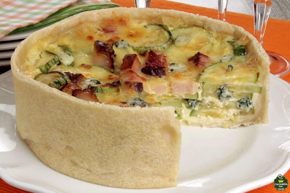 Torta de abobrinha queijo e bacon fabuloso