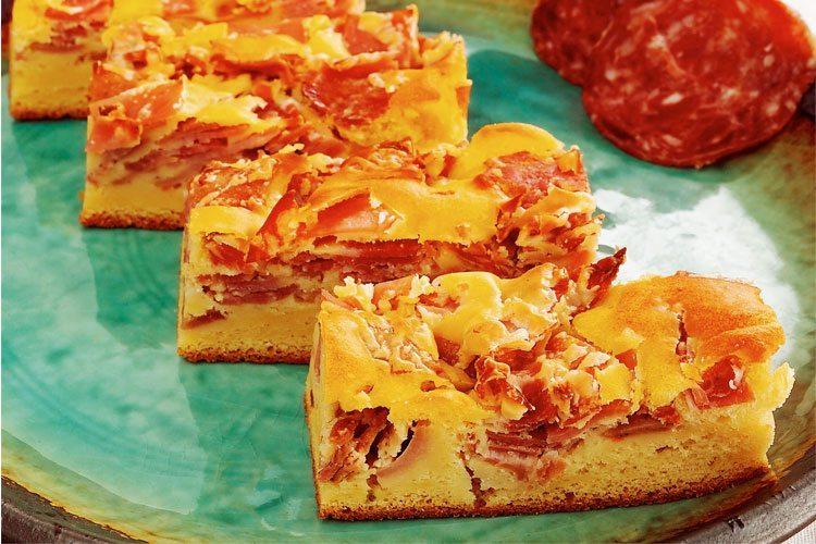 Torta de mandioquinha com frios sensacional