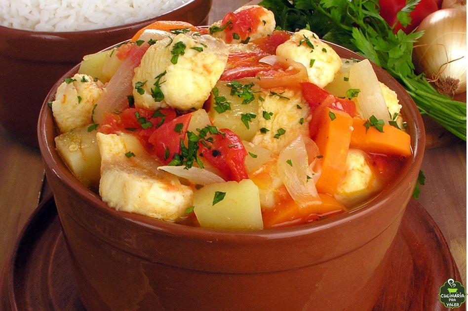 Ensopado de cação com tomate levíssimo