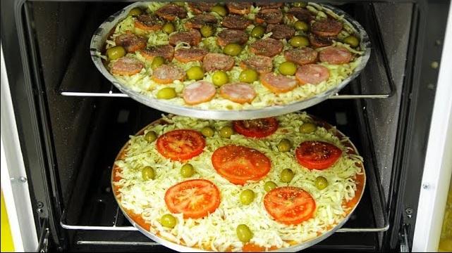 Pizza caseira de liquidificador, rápida e fácil !