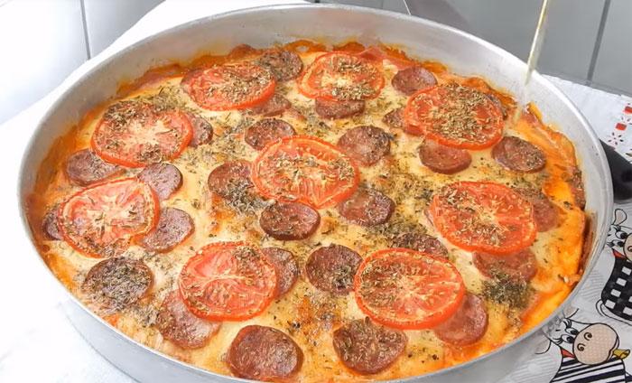 Pizza caseira de liquidificador muito fácil
