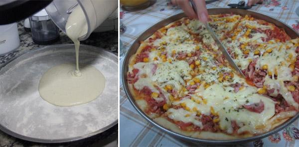 Pizza de liquidificador fácil uma delícia