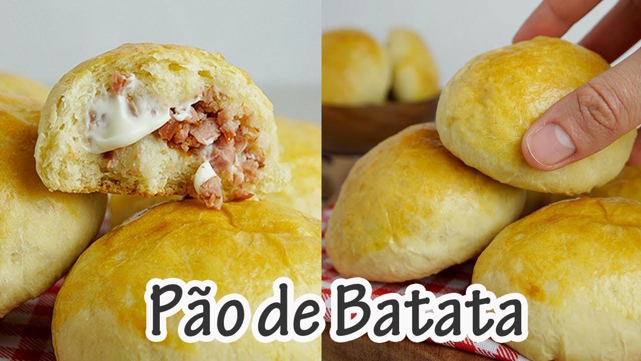 Pão de batata recheado uma delícia